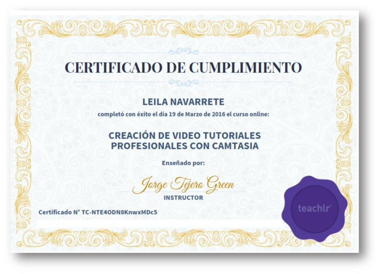 Certificado Curso Creación de Video Tutoriales